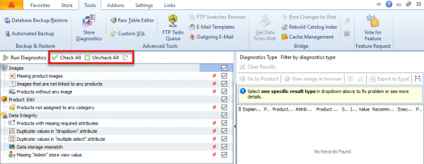 Check And Uncheck Options In Magento Store Diagnostics