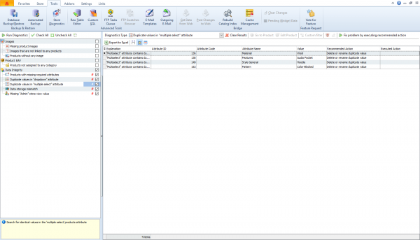 Newly Implemented Data Integrity Diagnostics