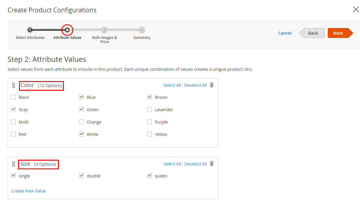 magento configurable attribute values to generate variations