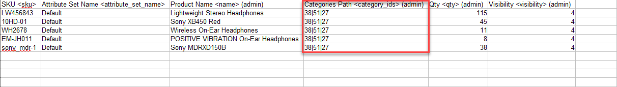 Assign Products to Categories Having Category IDs in the Import File