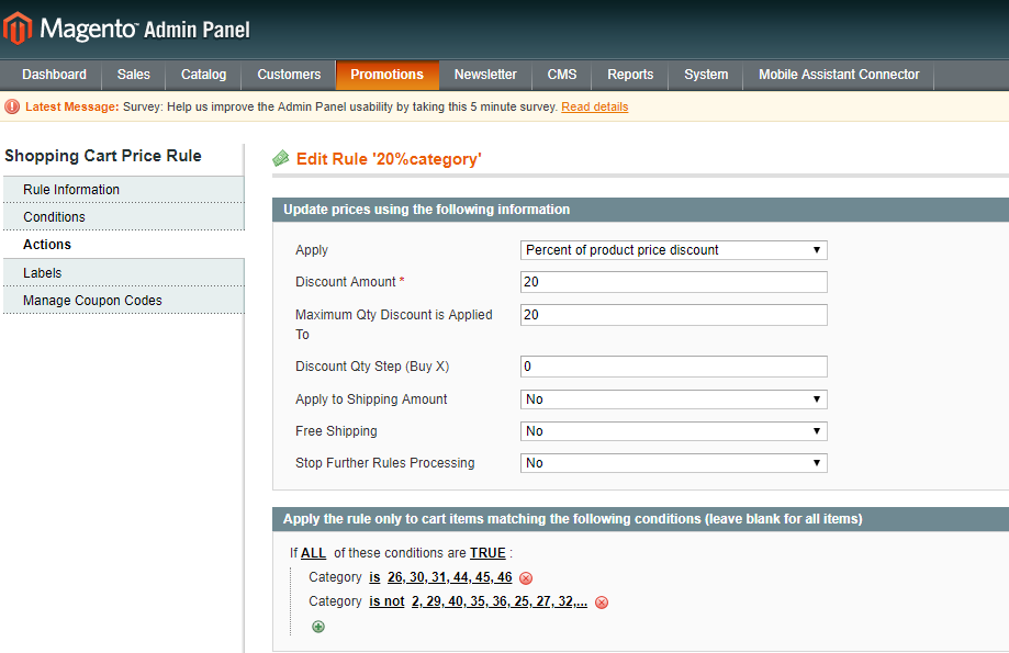 Magento Discount Actions Tab For 20 Items