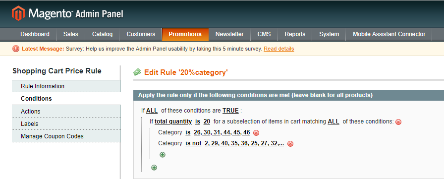 Magento Shopping Cart Price Rule For 20 Items