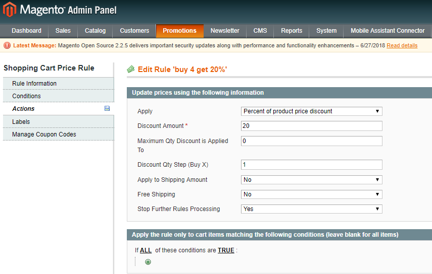 Actions Tab In Cart Price Rule For Customer