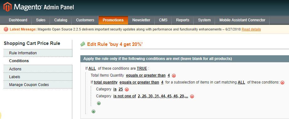 Shopping Cart Price Rule Conditions For Customer