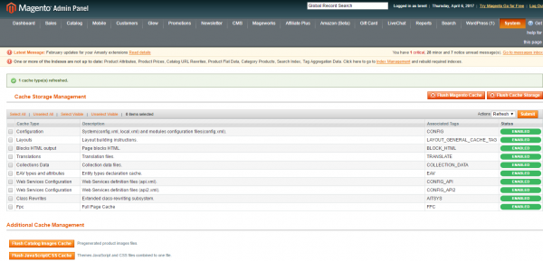What To Check If You Cannot Upload Magento Images Clear Cache in Admin