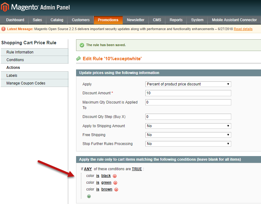 Magento Shopping Cart Price Rule For Attribute