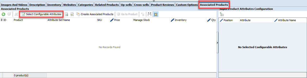 select configurable products option