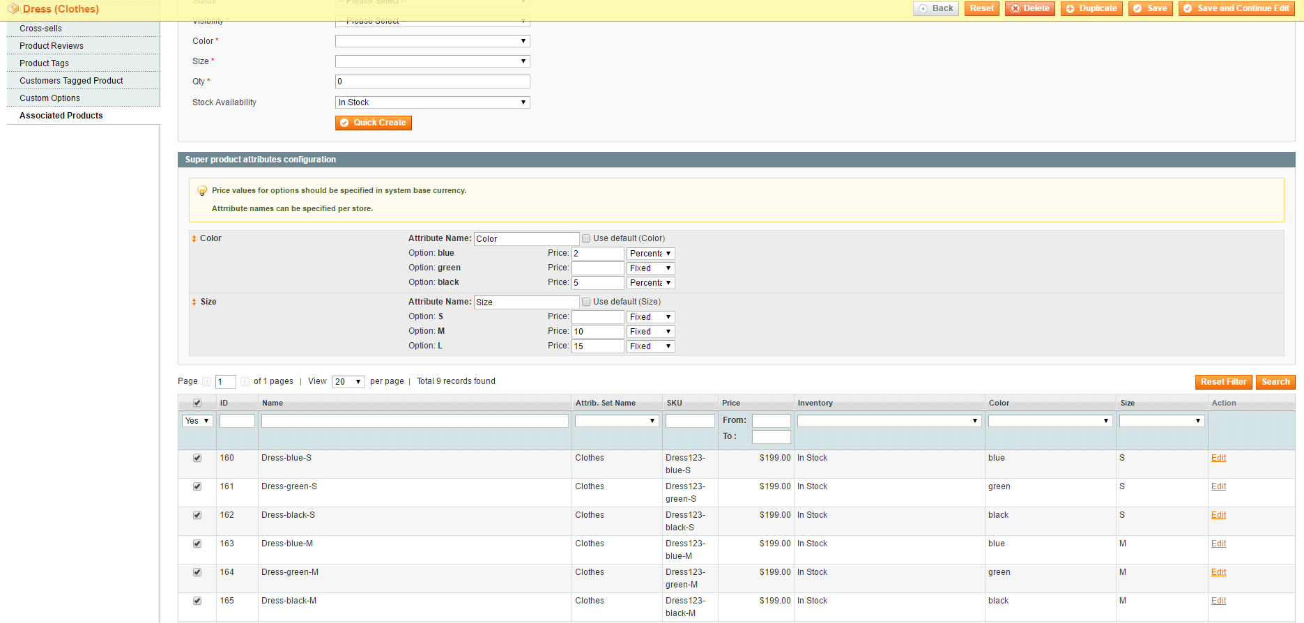 magento associated products