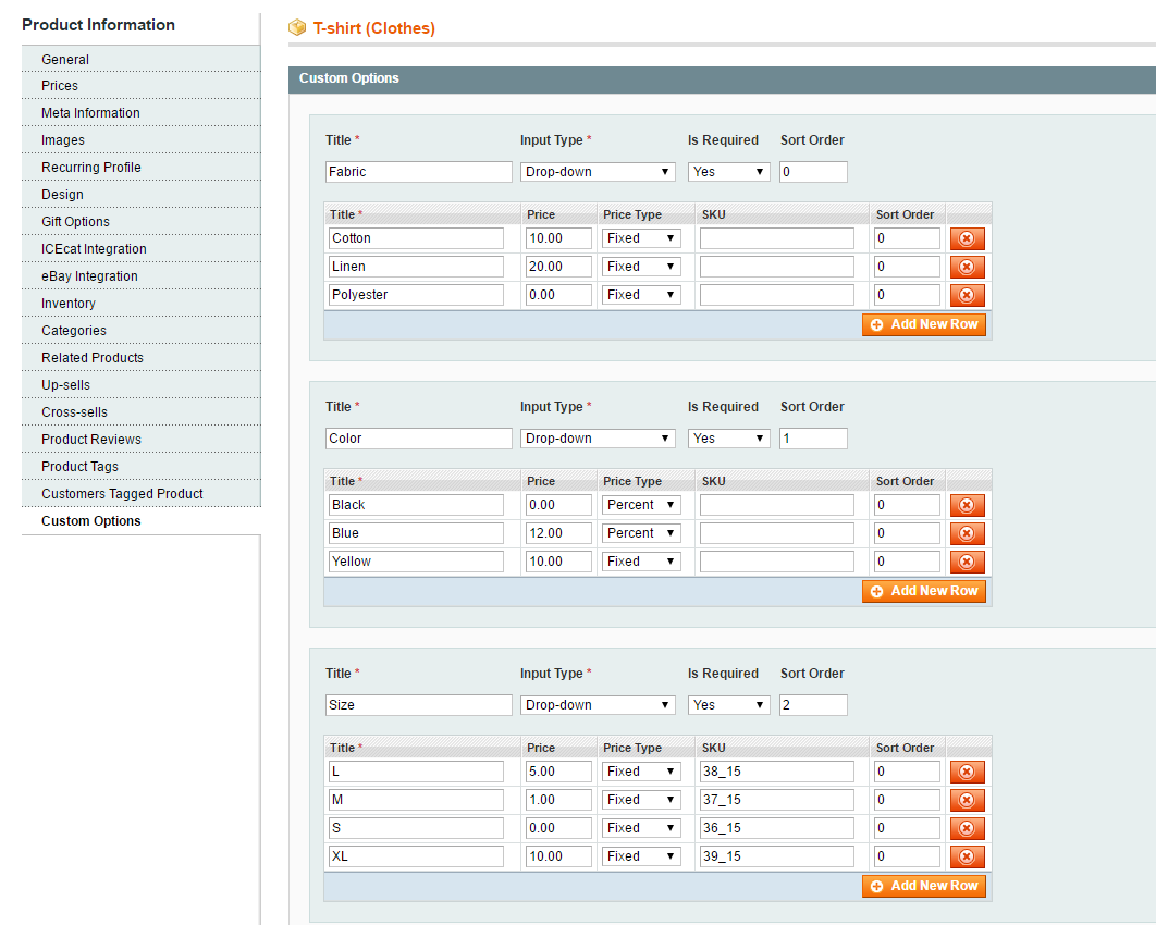 magento custom options settings