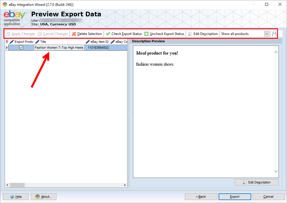 magento product export to ebay preview