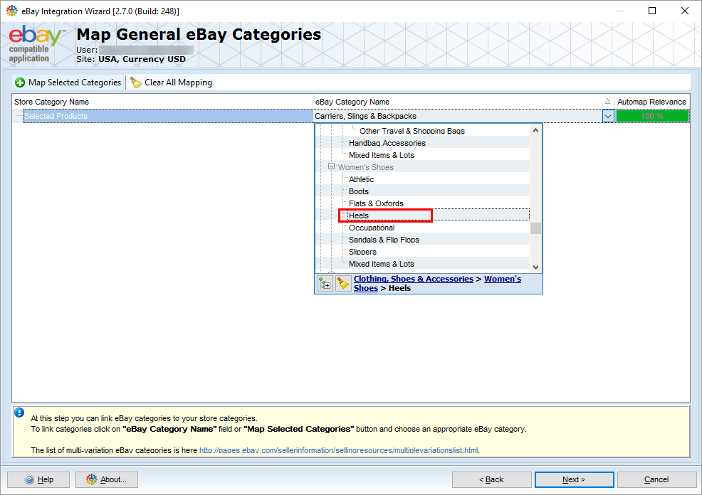 select ebay category to export magento products