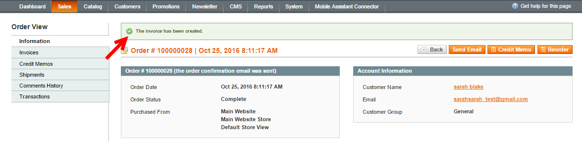 magento order invoice geberating confirmation