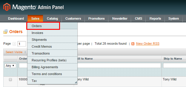 magento orders in admin panel