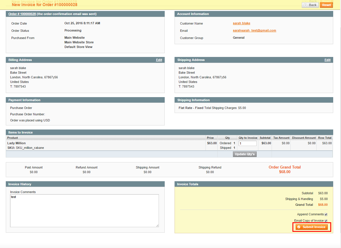 submit magento invoice