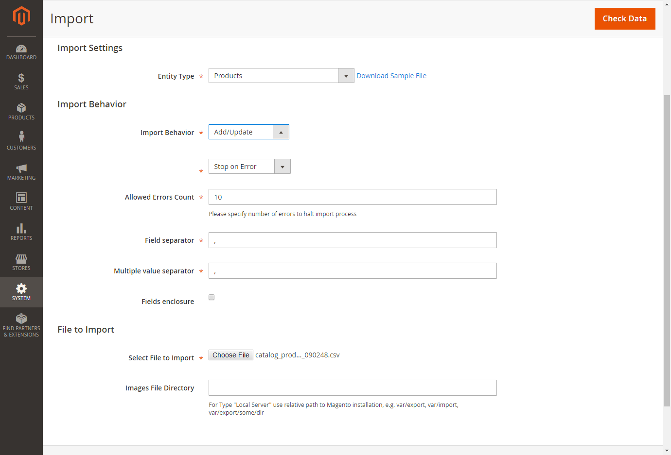 import custom options to magento 2 through admin