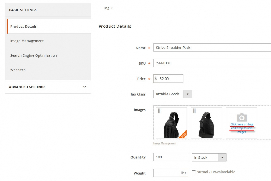 magento images drag and drop