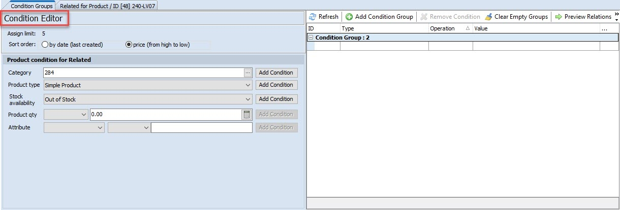 magento 2 related products condition editor