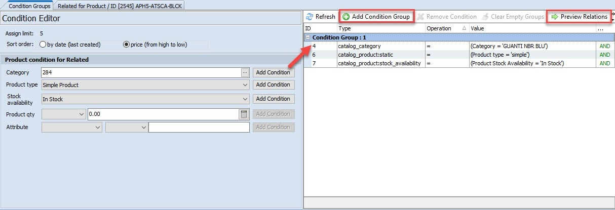 magento 2 related products generator add condition