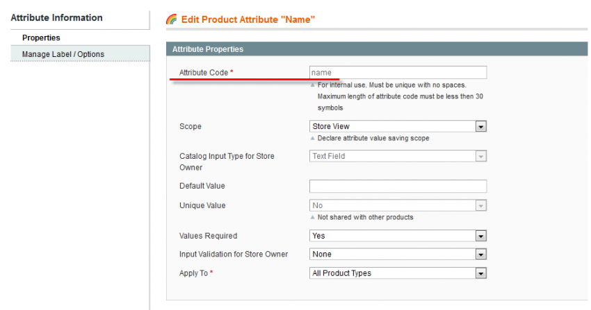 magento system attribute