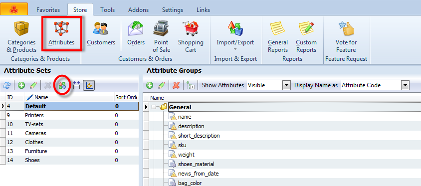 attributes and sets export