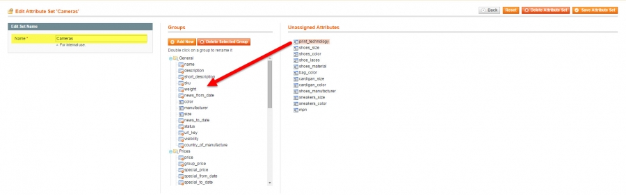 add attribute to magento attirbute set