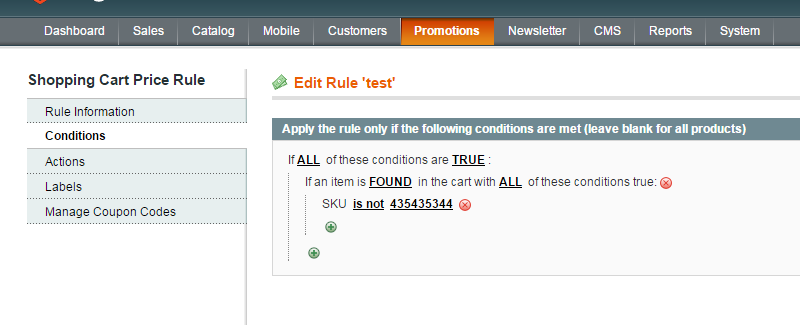 magento cart rules