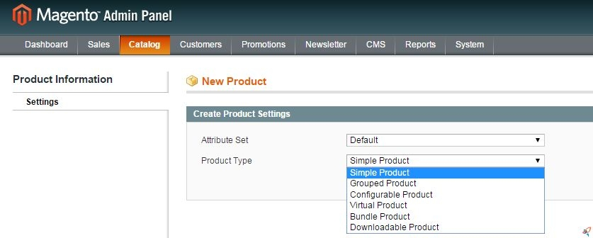 magento select product type