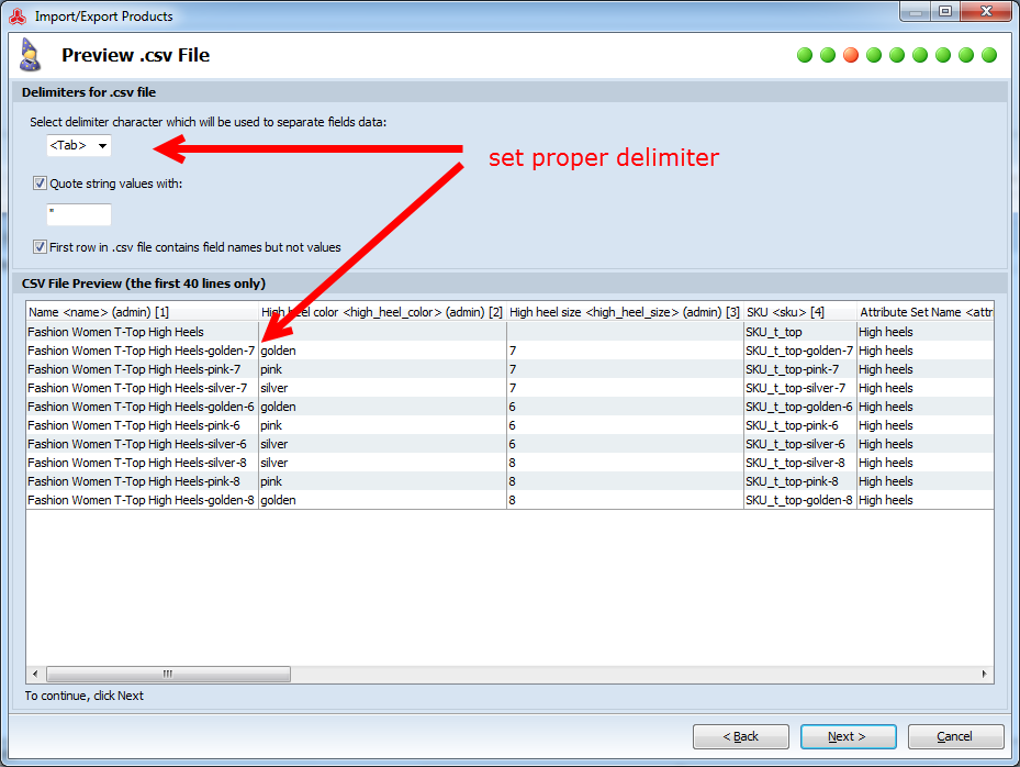 magento import configurable product file delimiter