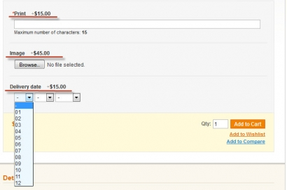 magento custom option of non-select type