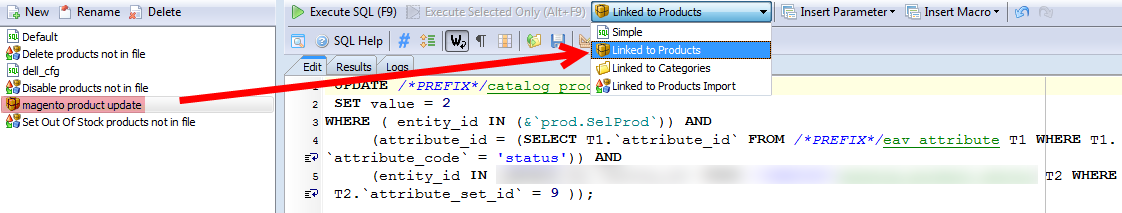 assign magento custom sql to products