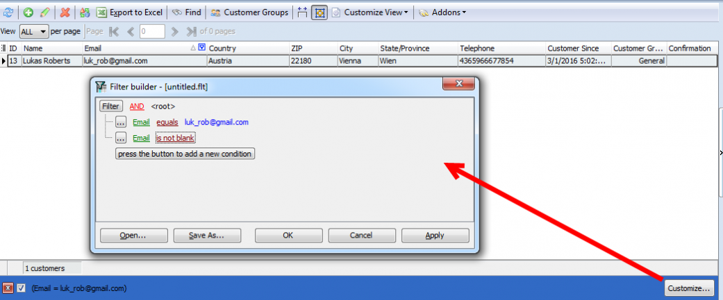 customize magento customer filter
