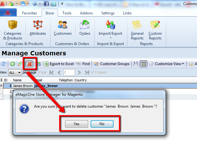 delete customer from magento customer list