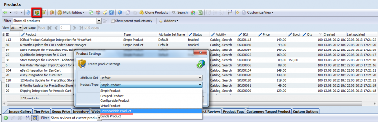 create magento downloadable product