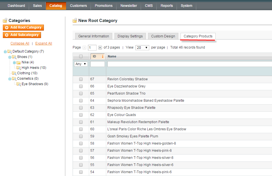 magento category products