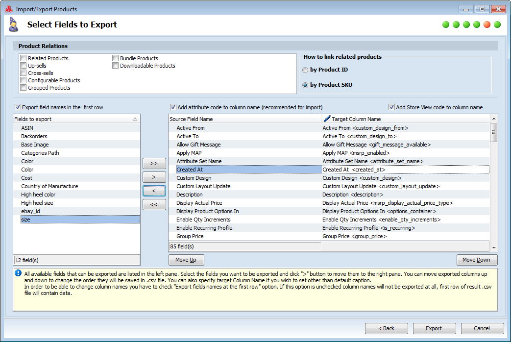 magento fields to export