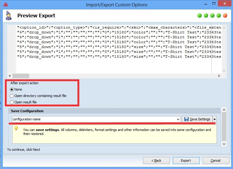 Magento export custom options