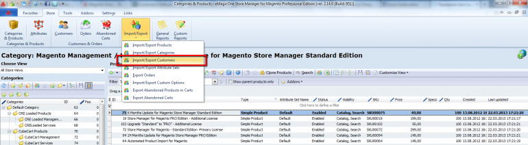 start magento customer export wizard