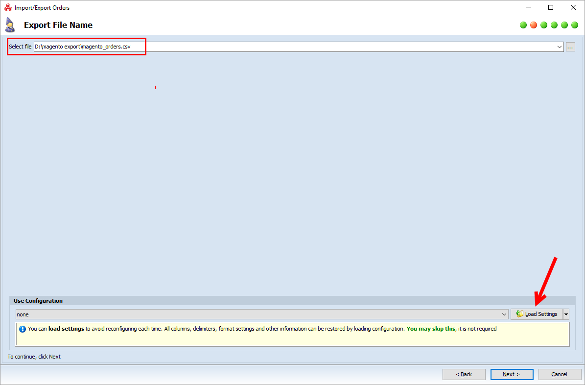 magento order export file