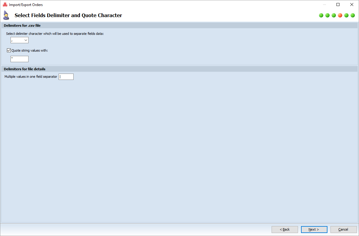 magento order export file delimiters