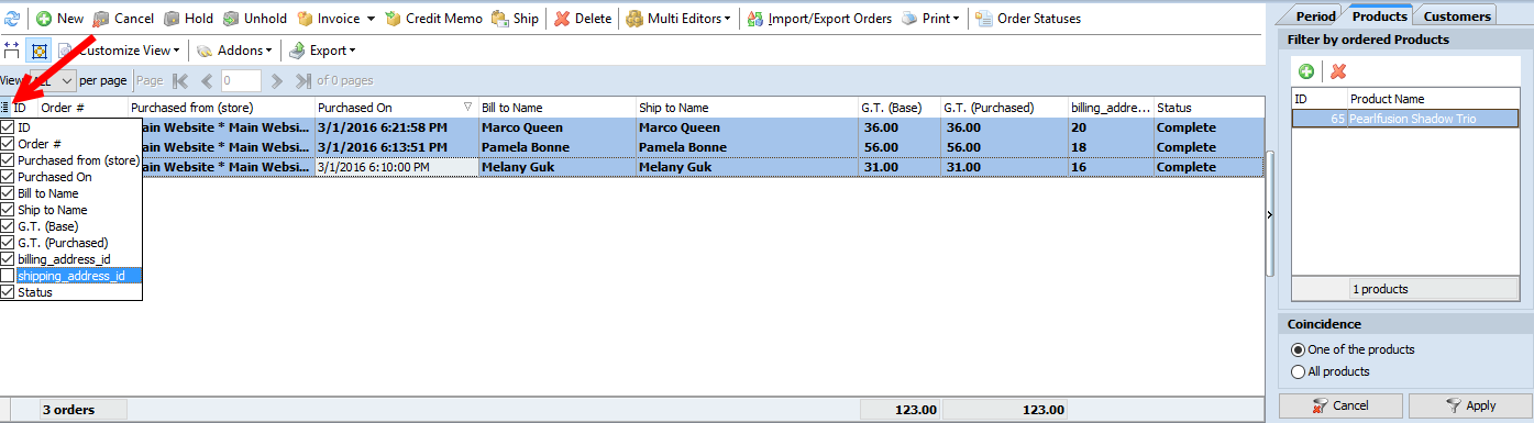 select magento order details to export