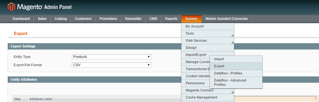 magento export products from admin
