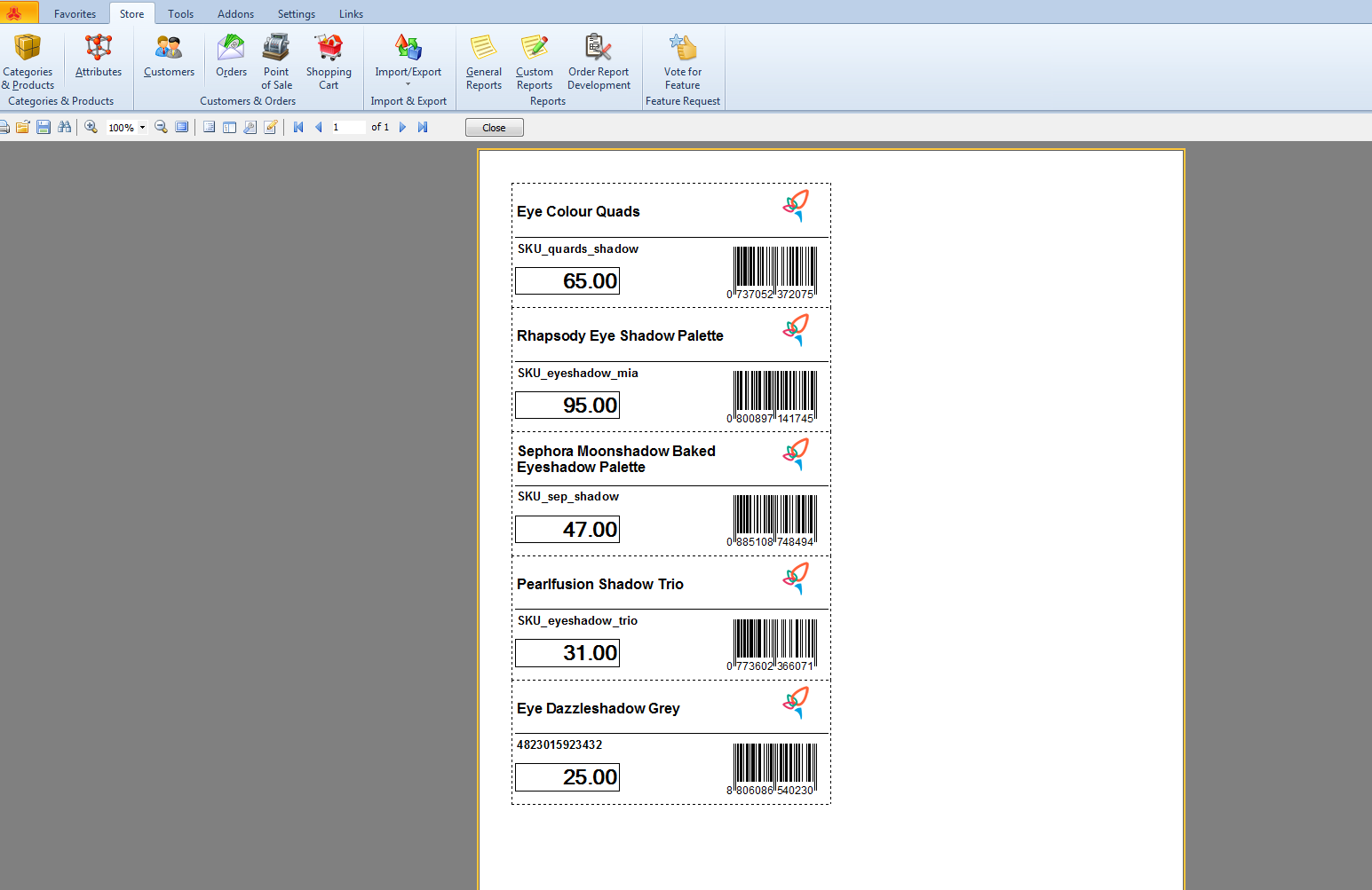 magento barcode labels generated