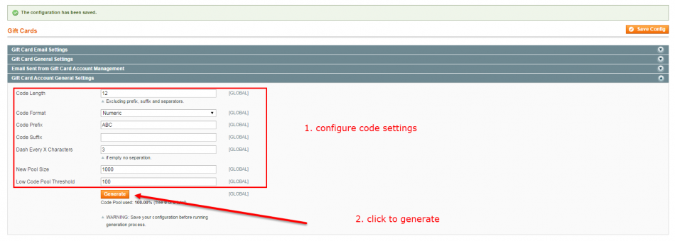 generate magento gift card codes