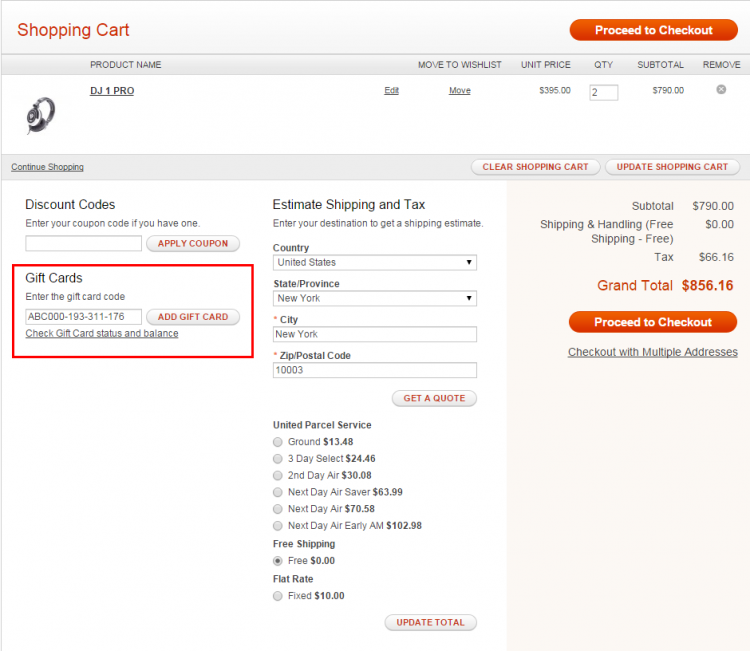 magento gift card code checkout