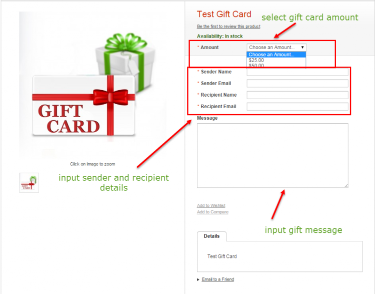 magento gift card product at the storefront