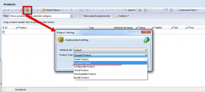 create magento grouped product