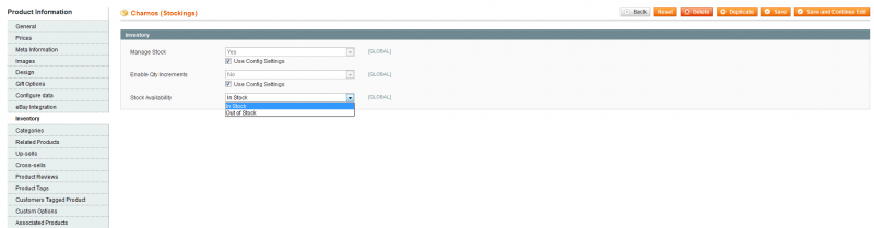 magento make configurable in stock