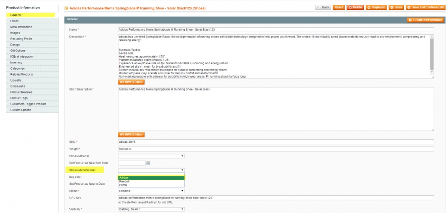 assign manufacturer to magento product via admin