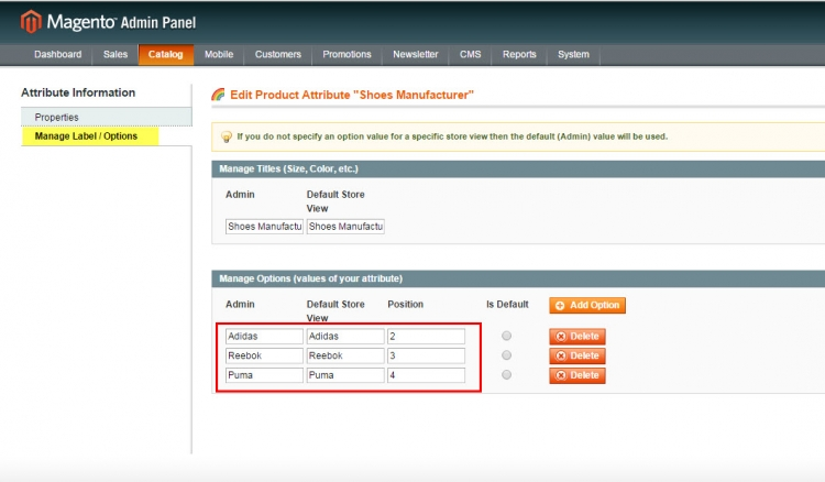 magento manufacturer attribute options via admin