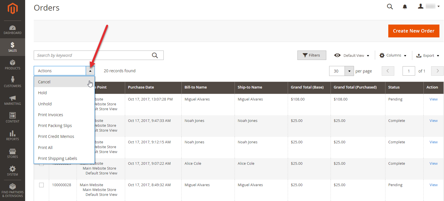 order status cancelled magento 2